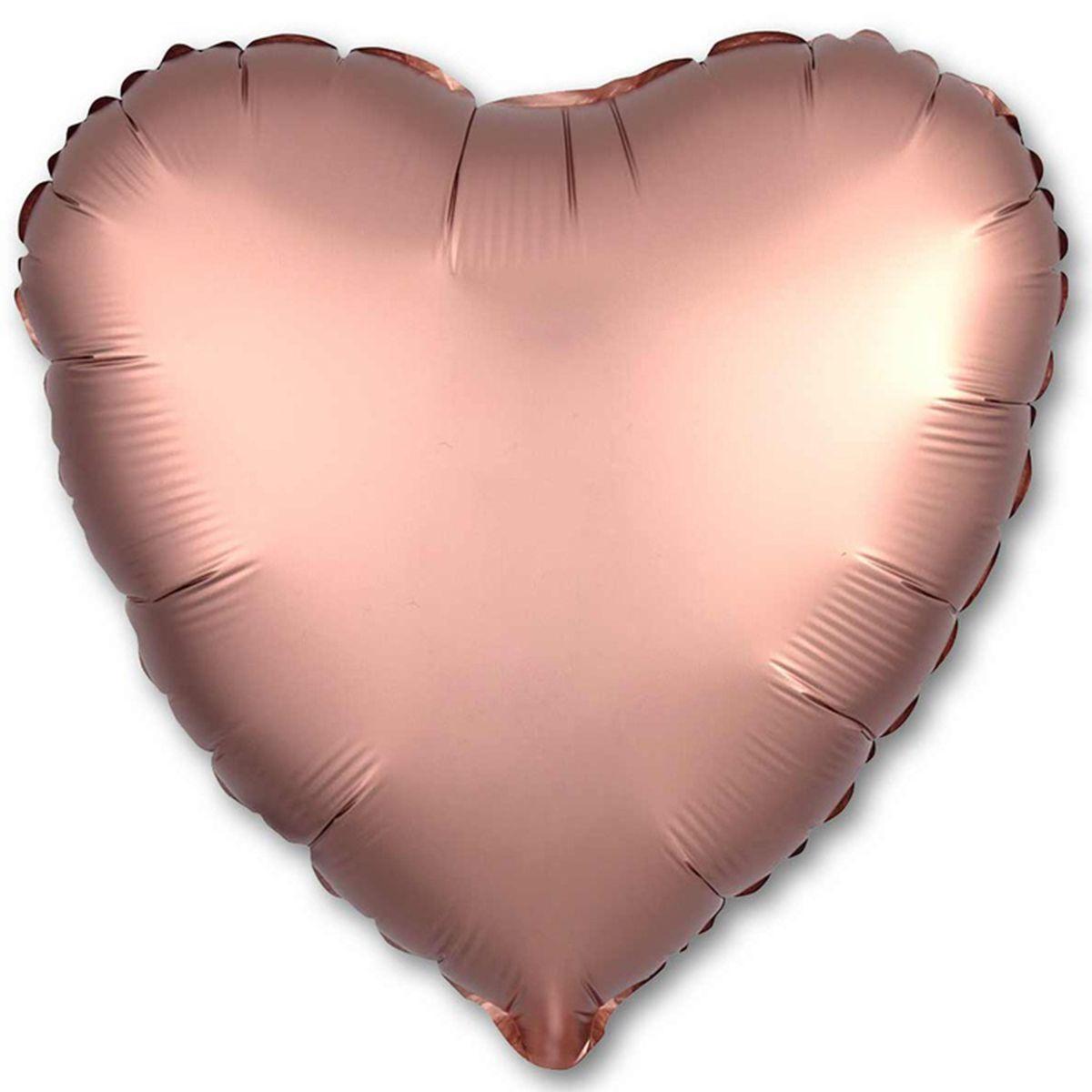 """Кулька 18"""" серце фольгована, рожеве золото, сатин, ТМ """"Агура"""" однотонний шт."""