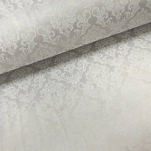 Ткань сатин с рисунком, дамаск на сером (ТУРЦИЯ шир. 2,4 м) Отрез(1*2,4м)