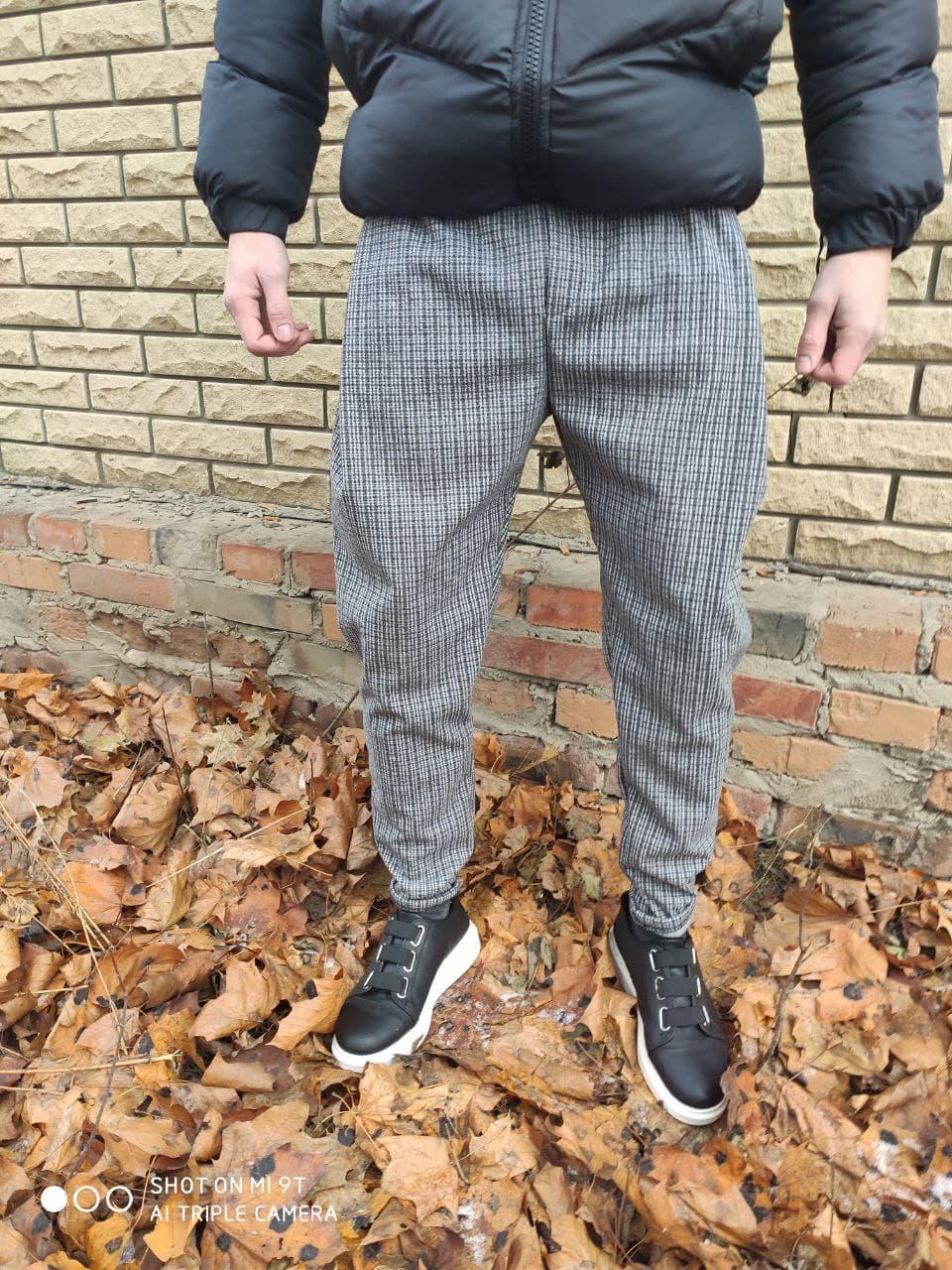 Мужской спортивный костюм 2Y Premium со светоотражающими элементами ДМ-штаны в клетку