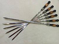Набор шампуров с деревянной ручкой для шашлыка 6 штук, ручной работы., фото 1