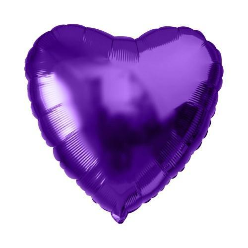 """Кулька 18"""" серце фольгована фіолетова ТМ """"Агура"""" однотонний шт."""