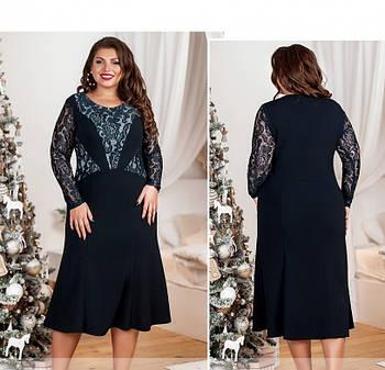 / Размер 54,56,58,60,62,64 / Женское платье большого размера / 561-1-Синий