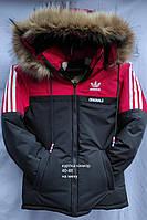 Куртка зимова підліткова для хлопчика на хутрі Adidas 11-15 років,чорна з червоним