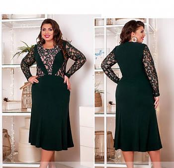 / Размер 54,56,58,60,62,64 / Женское платье большого размера / 561-1-Изумруд