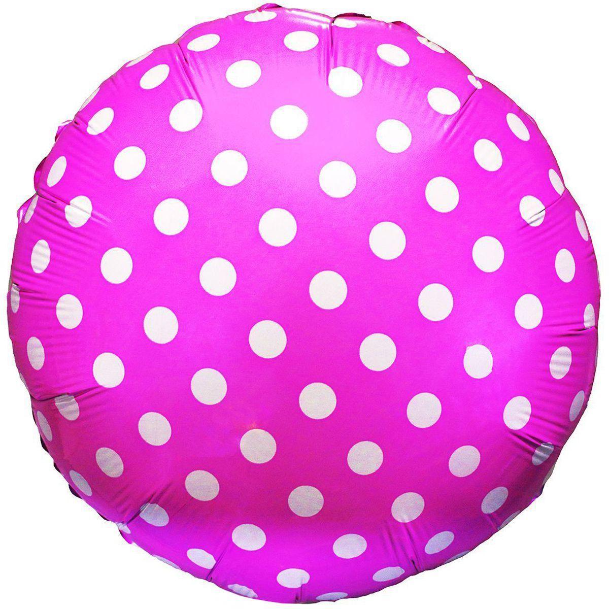 """Кулька 18"""" круг фольгована, рожевий в білий горошок ТМ """"Flexmetal"""" однотонний шт."""