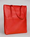 Модная белая женская сумка шоппер с большим карманом на молнии и двумя ручками матовая экокожа, фото 4