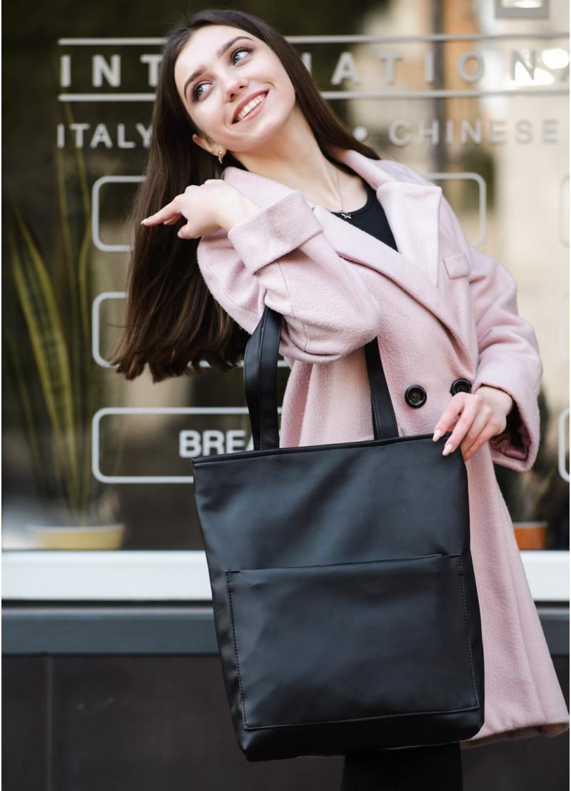 Стильная женская сумка шоппер черная с двумя ручками из матовой эко кожи (качественного кожзама)