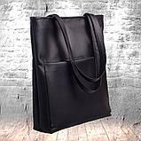 Стильная женская сумка шоппер черная с двумя ручками из матовой эко кожи (качественного кожзама), фото 6