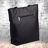 Стильная женская сумка шоппер черная с двумя ручками из матовой эко кожи (качественного кожзама), фото 7