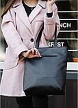 Стильная женская сумка шоппер черная с двумя ручками из матовой эко кожи (качественного кожзама), фото 3