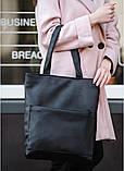 Стильная женская сумка шоппер черная с двумя ручками из матовой эко кожи (качественного кожзама), фото 2