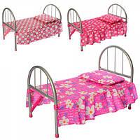 Кроватка 9342 / WS 2772 для куклы,жел,45-32-25см,подушка,микс видов, в кульке, дроп, 74-26-4см