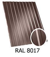 Профнастил ПС-12 коричневый 8017 1,17х1,3
