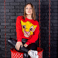 Укороченный женский свитшот Король Лев красного цвета (0101) Турция, размер S