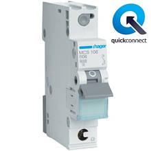 Автоматический выключатель Quick Connect  Hager MCS106. Iн=6А, хар-ка C