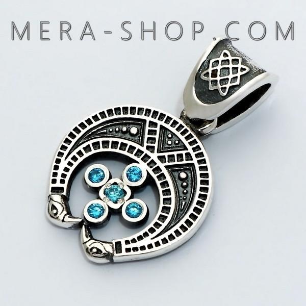 Серебряная Лунница со Звездой Руси славянский оберег из серебра 925 пробы с камнями (25 х 15 мм, 2.6 г)