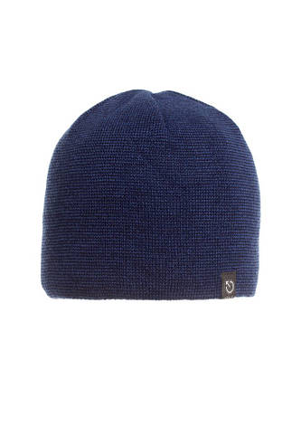 Однотонная синяя мужская шапка мелкой вязки., фото 2