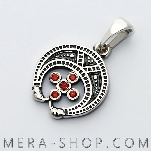 Серебряный оберег Лунница с камнями славянский кулон из серебра 925 пробы (23 х 15 мм, 1.9 г)