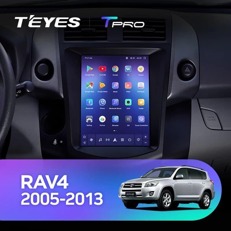 Штатна магнітола TEYES TPRO Toyota RAV4 3 XA30 Tesla screen Tesla style Android