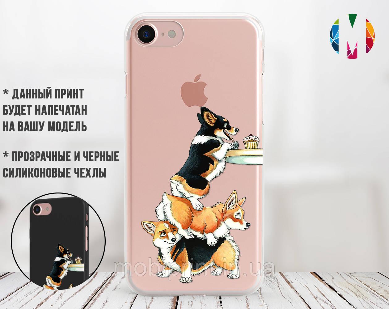 Силиконовый чехол Весёлые корги (Funny corgi) для Apple Iphone 7_8_Se 2020