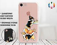 Силиконовый чехол Весёлые корги (Funny corgi) для Apple Iphone 7_8_Se 2020  , фото 1