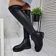 Ботфорты женские высокие сапоги чулки черные евро-зима, эко кожа 39р. b-462, фото 4