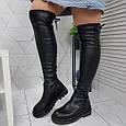 Ботфорты женские высокие сапоги чулки черные евро-зима, эко кожа 39р. b-462, фото 3