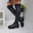 Ботфорты женские высокие сапоги чулки черные евро-зима, эко кожа 39р. b-462, фото 2