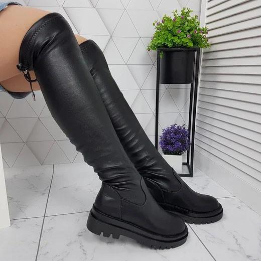 Ботфорты женские высокие сапоги чулки черные евро-зима, эко кожа 39р. b-462
