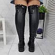 Ботфорты женские высокие сапоги чулки черные евро-зима, эко кожа 39р. b-462, фото 5