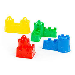 """Формочки для песка Полесье """"Замок мост+замок стена, с двумя башнями+замок угловой+замок квадратный"""", 67821"""