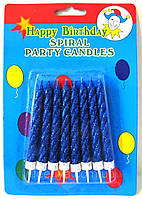 Свечи для торта с синим глиттером 8шт/уп