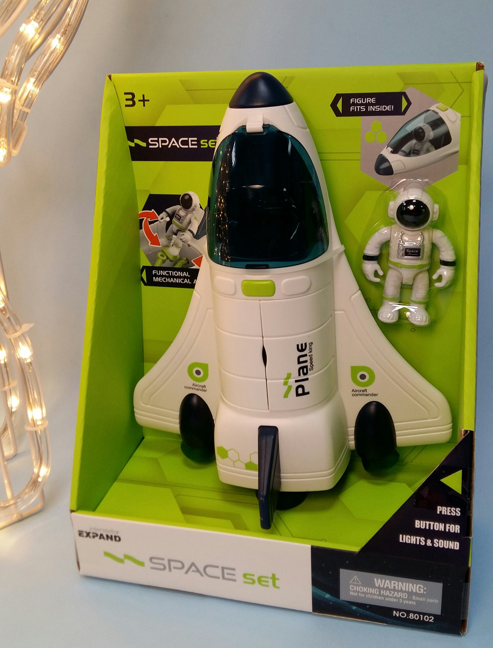 """Игровой набор """"Космический корабль"""" свет, звук, фигурка космонавта, в коробке  80102"""