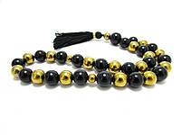 Четки.Агат черный + золотой гематит. 33 камня