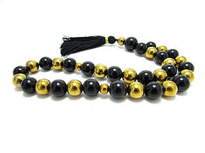 Чотки.Агат чорний + золотий гематит. 33 каменю