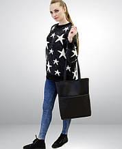 Модная женская черная сумка шоппер с двумя ручками матовая экокожа (качественный кожзам)