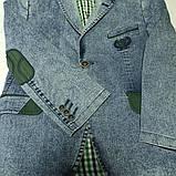 Пиджак джинсовый модный нарядный красивый с зеленой отделкой для мальчика., фото 2