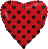 """Кулька 18"""" серце фольговане червоне чорний горох ТМ """"Flexmetal"""" однотонний шт."""