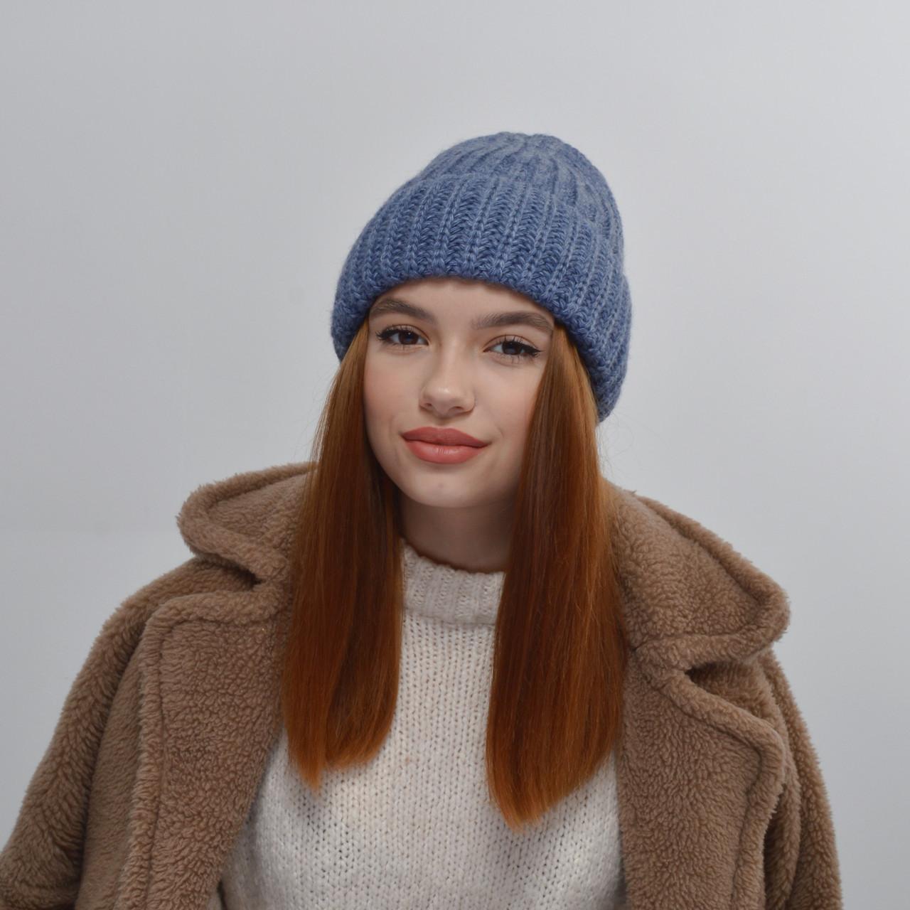 Молодежная шапка на флисе 3377 джинс