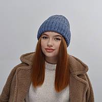 Молодежная шапка на флисе 3377 джинс, фото 1