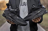 Кроссовки мужские зимние Nike Air Max 90 черные, Найк Аир Макс 90, нейлон, текстиль, термо, код IN-681