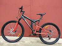 Взрослый горный велосипед Azimut Power 26 дюймов Азимут Павер черно-оранжевый