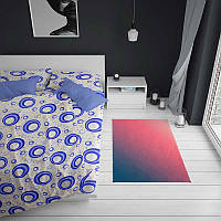 Постельное белье двуспальное ранфорс 3557 белый-синий 70х70(р) навол.-2шт,