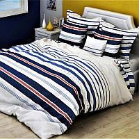 Постельное белье двуспальное бязь люкс 2492 синие-серый 50х70(р) навол.2шт. подод.175х210-1шт.