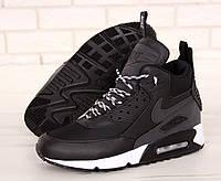 Кроссовки мужские зимние NIke Air Max 90 Sneakerboot черные, Найк Макс. Кожа, мех 100% прошиты. Код KD-11682