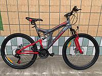 Взрослый горный велосипед Azimut Power 26 дюймов Азимут Павер серо-красный