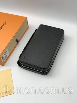 Бумажник Louis Vuitton черный кожаный | Вместительный кошелек Луи Виттон большой | Клатч двойной Луи Виттон