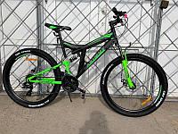 Взрослый горный велосипед Azimut Power 26 дюймов Азимут Павер черно-салатовый