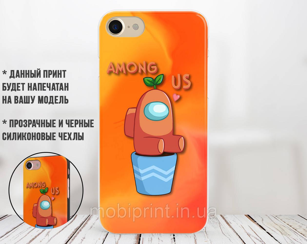 Силиконовый чехол Амонг Ас Оранжевый (Among Us Orange) для Apple Iphone 6_6s