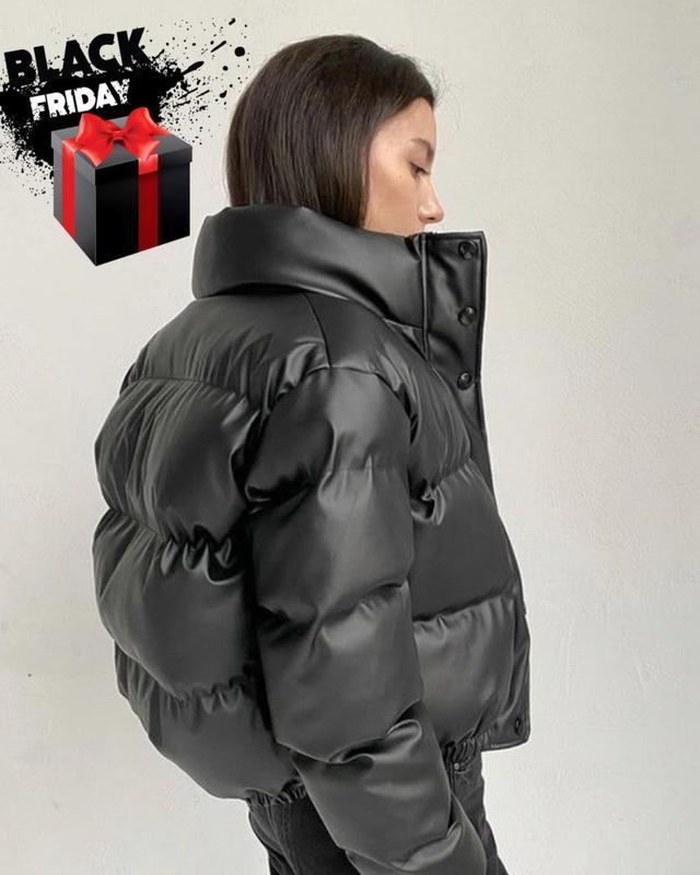 Женская дутая курточка под горло на змейке без капюшона